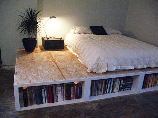 platform bed frame plans with storage