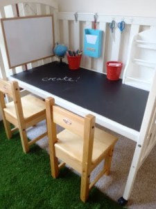 Crib into a Desk for Two